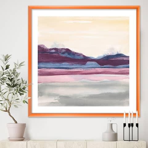 Designart 'Purple Rock landscape' Shabby Chic Premium Framed Art Print