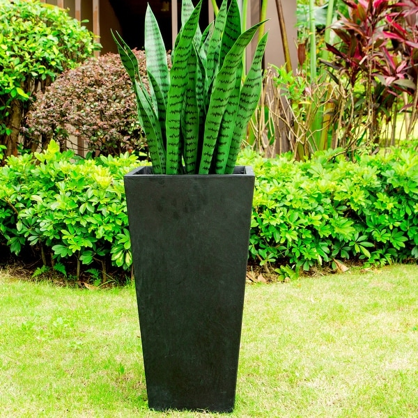Black Lightweight Concrete Modern Tapered Rectangle Planter. Opens flyout.