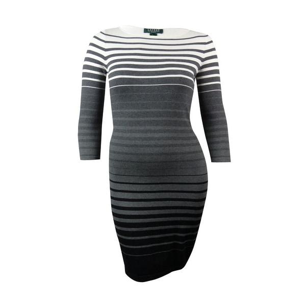 80f1262ab1 Shop Lauren Ralph Lauren Women s Ombre Striped Boat Neck Sweater Dress (XL