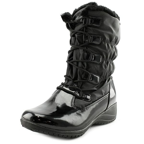 Khombu Audrey Women Round Toe Patent Leather Black Winter Boot