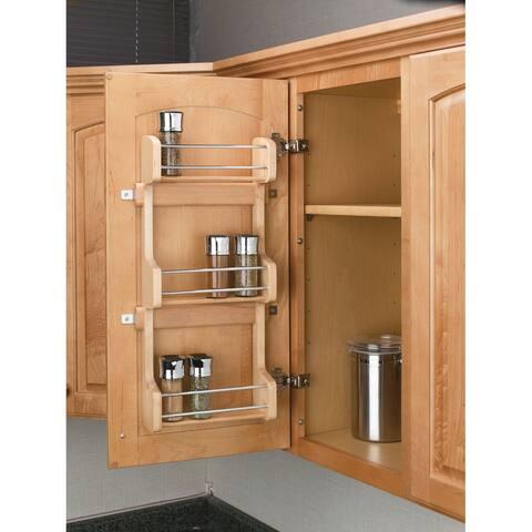 """Rev-A-Shelf 4SR-15 4SR Series Door Mount Spice Rack for 15"""" Wall Cabinet - Natural Wood"""