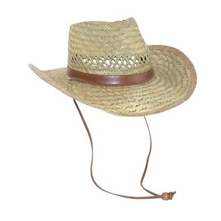 Dorfman Pacific Men's Rush Straw Lightweight Outback Hat with Chin Cord