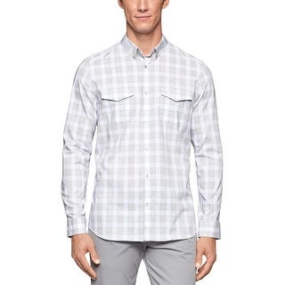 Calvin Klein Heather Pedal Gray Checked Refined Long Sleeve Shirt Large