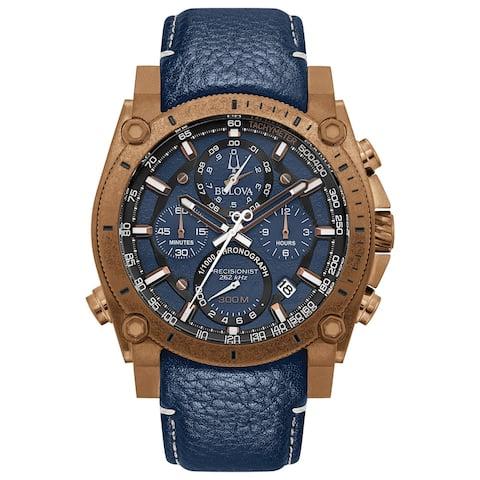 Bulova Men's 97B186 Precisionist Chrono Bronze IP Blue Leather Strap Watch