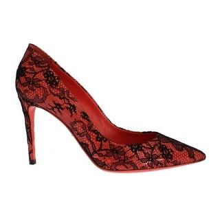 Dolce & Gabbana Orange Leather Lace Stiletto Heels Shoes - 37.5