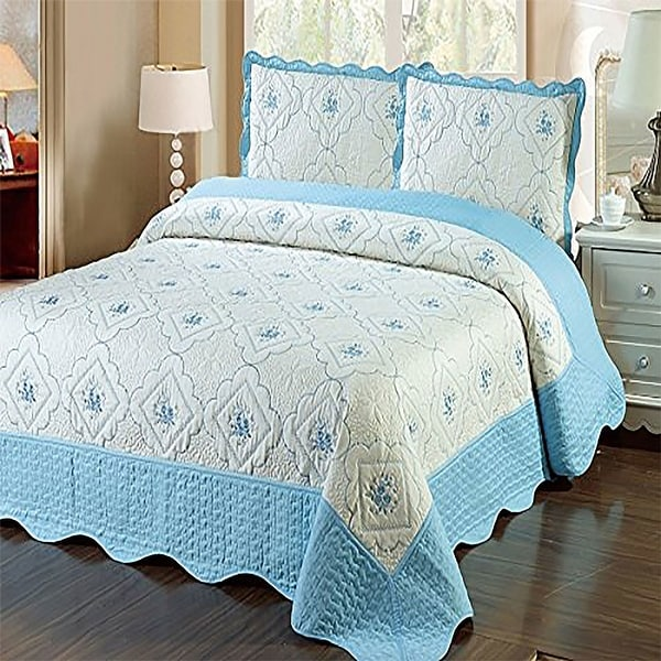 Shop King Size Blue White 3pc Bedspread Quilted High