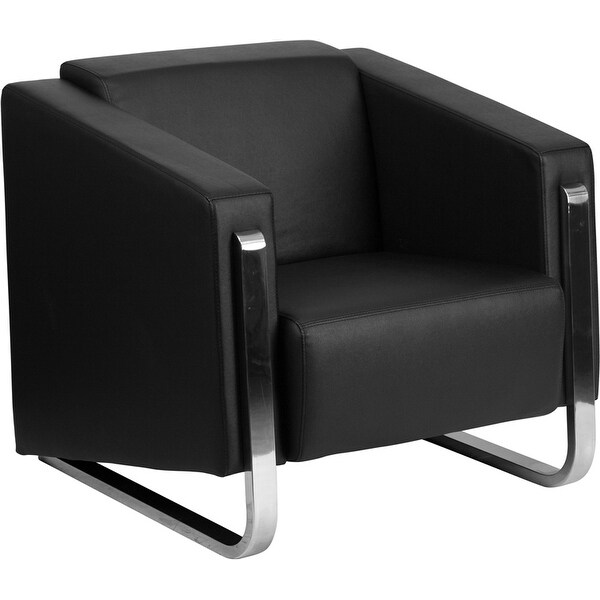 Azure Gallant Black Leather Office Comfortable Reception/Guest Chair w/Stainless Steel Frame-FL5191