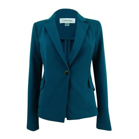 Calvin Klein Women's Plus Size Single-Button Crepe Blazer - Cypress