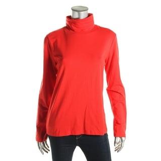 Anne Klein Womens Cotton Blend Long Sleeve Turtleneck Top