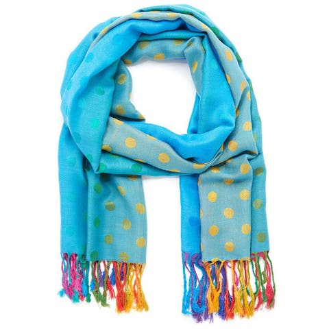 Oussum Pashmina scarf Women Shawls and Wraps Fringe Polka Dot Shawls - Large