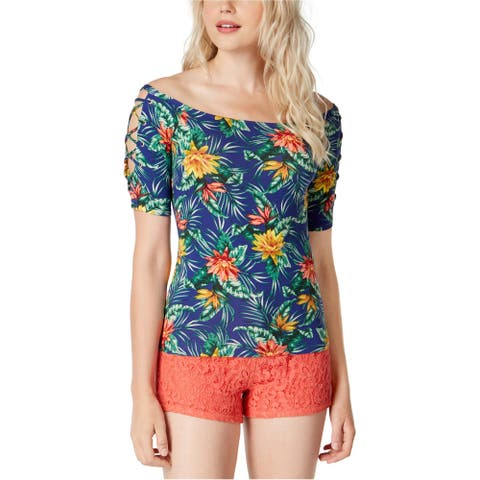 GUESS Womens Catrina Basic T-Shirt, Blue, X-Large