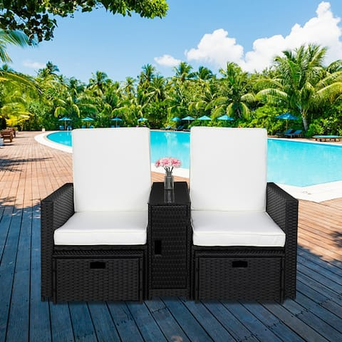 Patio 5 Pieces Black Rattan Chat Set with White Cushions