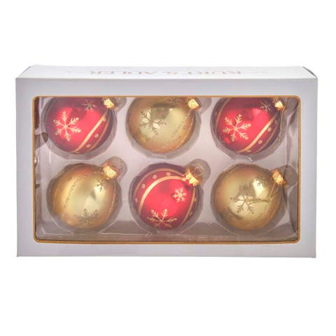 Kurt Adler 80MM Red and Gold Snowflake Glass Ball Ornaments, 6-Piece Set