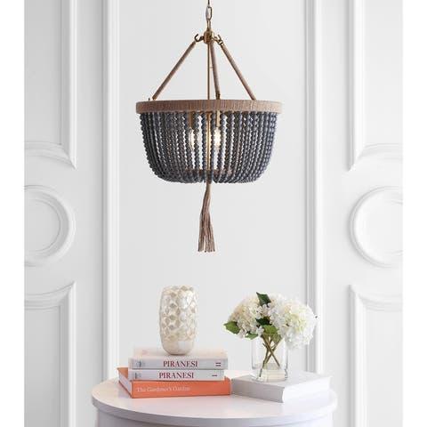 "SAFAVIEH Lighting Adra Boho Adjustable 3-light LED Grey Beaded Chandelier Pendant - 18.5""x18.5""x32-104"""