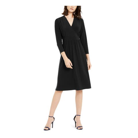 ANNE KLEIN Black Long Sleeve Below The Knee Dress XS