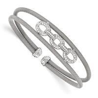 Italian Sterling Silver CZ Flexible Cuff Bangle