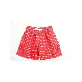 Azul Baby Boys Red Dragonflies Allover Print Drawstring Swim Shorts
