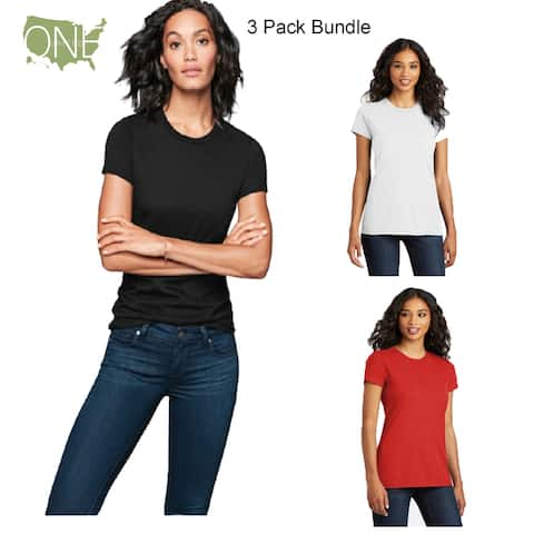 One Country United Women's (3 Pack Bundle) Fitted Cotton Tee