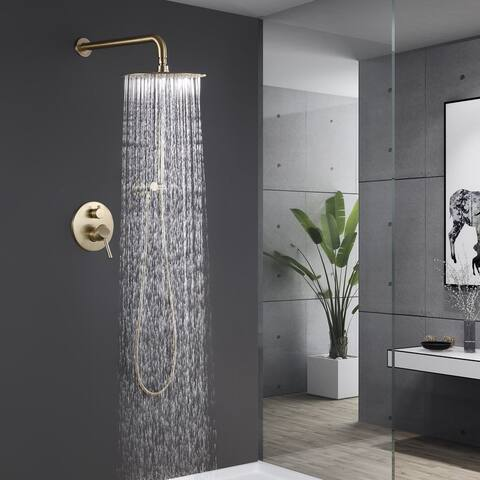 Modern polished chrome wall-mounted rain shower system Copper material