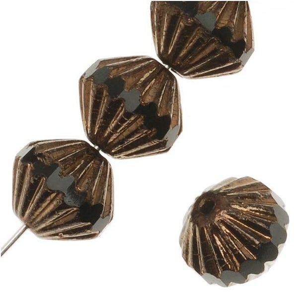 Czech Glass Fluted Cathedral Beads 9mm Jet Black/Bronze (12 Beads)