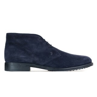 Tod's Men's Navy Suede Ankle Lace Up Desert Boots