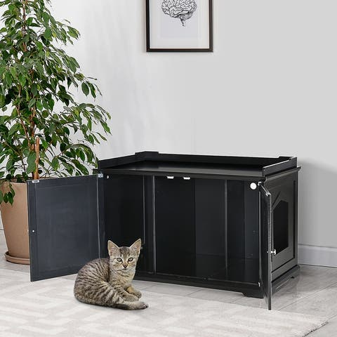 """PawHut 37.5"""" Wooden Covered Mess Free Cat Litter Box End Table Hideaway Cabinet with Storage"""