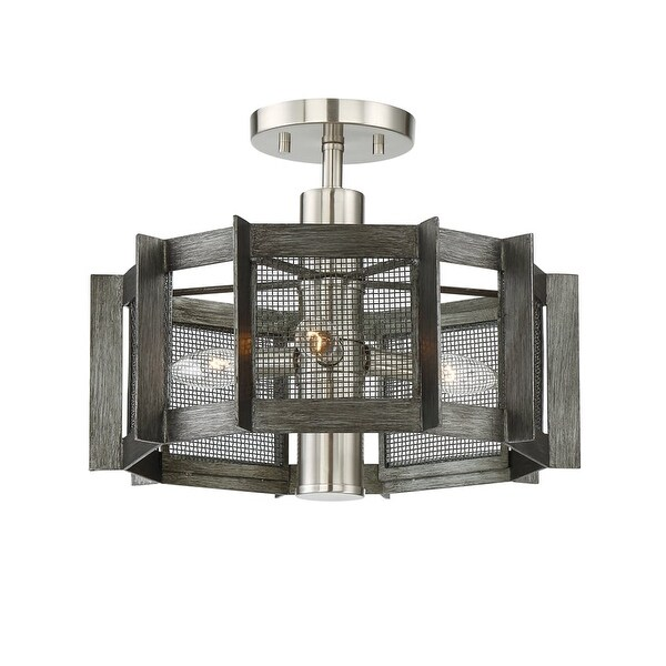 "Designers Fountain 89311 Baxter 3-Light 16"" Wide Semi-Flush Ceiling Fixture with Black Mesh Shade - Weathered Iron"