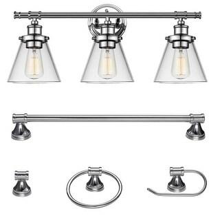 "Globe Electric 51234 Parker 3-Light 24-5/8"" Wide Bathroom Vanity Light - Towel Bar, Towel Ring, and Paper Holder Included"