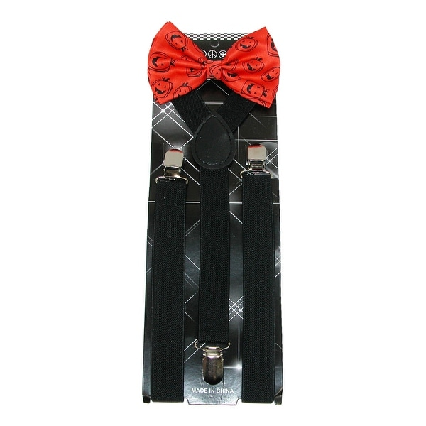 CTM® Men's Pumpkin Print Bow Tie with Solid Suspender Halloween Holiday Set - One size
