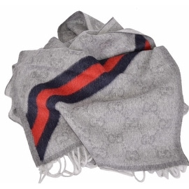 Gucci Men's 429255 Grey Wool Angora Blue Red Web GG Guccissima Scarf