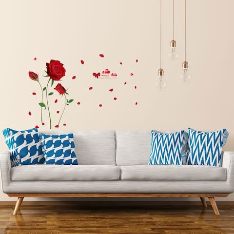 Red Rose Pattern Wall Sticker Self-stick DIY Art Decal for Living Room - White
