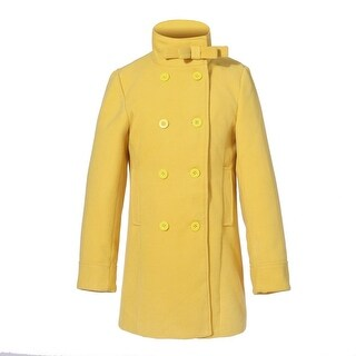 Richie House Little Girls Yellow Double-Breasted Little Stand Collar Jacket 5/6