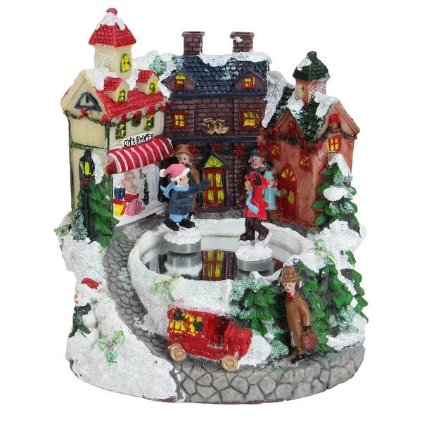 "6.75"" Animated Victorian Street ""Gift Shoppe"" Winter Scene Rotating Christmas Music Box - WHITE"