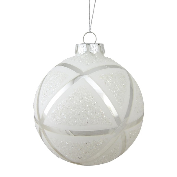 "4"" White Geometric Glass Christmas Ball Ornament - silver"