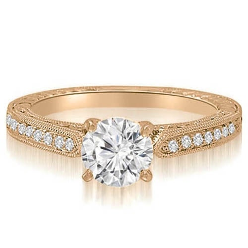 1.35 cttw. 14K Rose Gold Antique Milgrain Round Diamond Engagement Ring