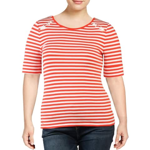 Lauren Ralph Lauren Womens Tenesha T-Shirt Striped Knit - Red/White