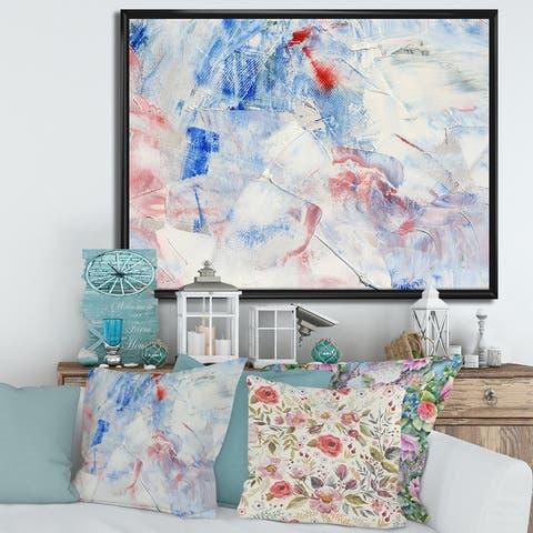 Designart 'Blue Abstract Composition' Modern Framed Canvas Wall Art Print