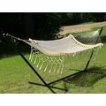 Sunnydaze Thick Cord Woven Single Person Mayan Hammock with Curved Spreader Bars - Thumbnail 7