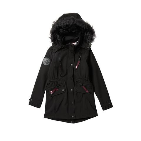 Canada Weather Gear Long Soft Shell Faux Fur Hooded Jacket (Big Girls), Black, Medium (10/12)