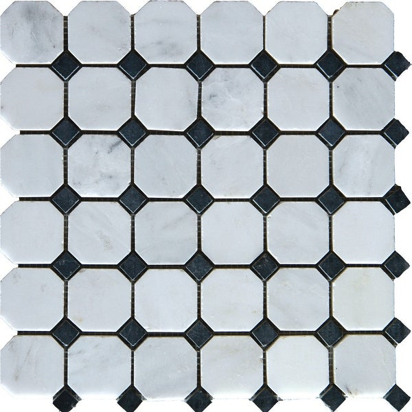 "MSI SMOT-ARA-2OCT Greecian White - 2"" x 2"" Dot-Mounted Mosaic Tile - Honed Marble Visual - Sold by Carton (10 SF/Carton)"