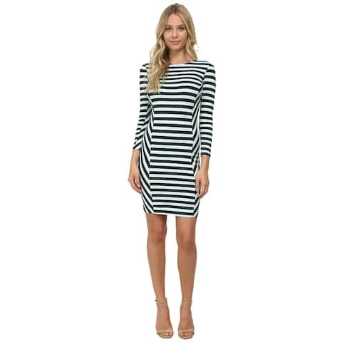 French Connection Summer Stripe Dress Long Sleeve Round Neck Bodycon