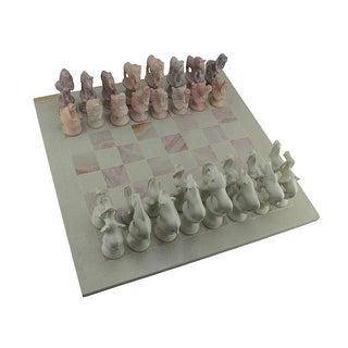 Hand Carved Soapstone African Animals Chess Set With 16 Inch Square Board - Multicolored