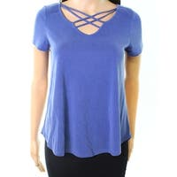 Moa Moa Deep Sea Womens Strappy-Front Solid Knit Top