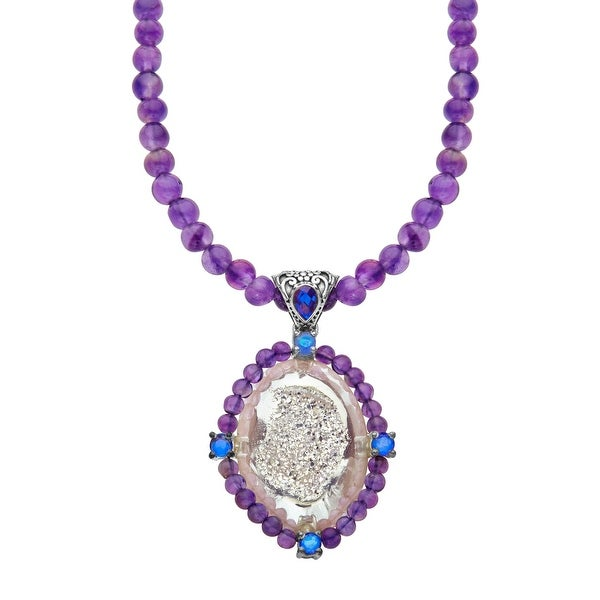 Sajen Snow Druzy, Royal Quartz & Amethyst Necklace in Sterling Silver - Purple