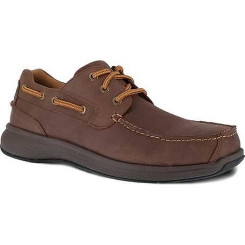 Florsheim Work Men's FS2326 Bayside Steel Toe Boat Shoe Brown Leather