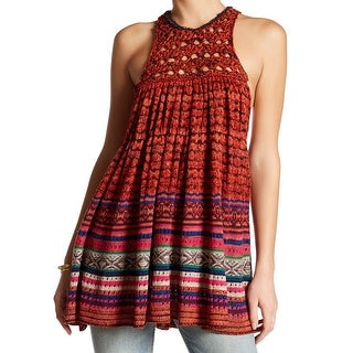 Free People NEW Red Women Size Medium M Crochet Knit A-Line Tunic Top