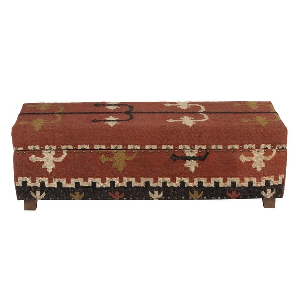 """Handmade Kilim Upholstered Storage Bench (India) - 48"""" L x 16"""" W x 16"""" H. Opens flyout."""