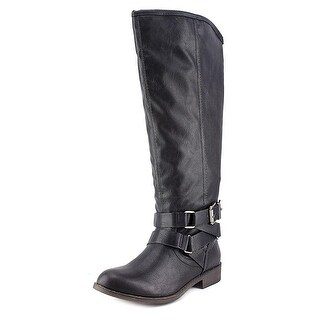 Madden Girl Womens CORPOREL Round Toe Knee High Motorcycle Boots