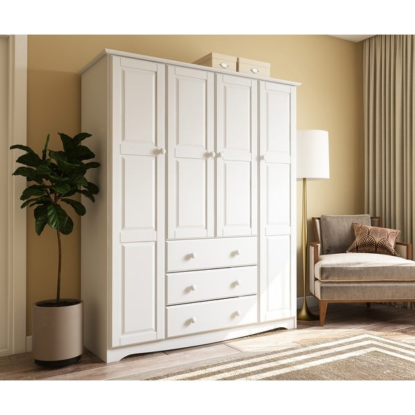 """Palace Imports Family 4-door Solid Wood Wardrobe (No Shelves Included) - 60.25""""W x 72""""H x 20.75""""D. Opens flyout."""
