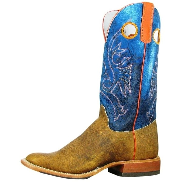"""Olathe Western Boots Mens Leather 13"""" Cowboy Bison Brown"""